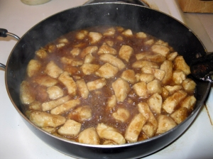 Chicken and sauce prior to chili flakes
