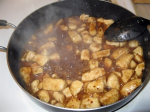 Chicken and sauce after the chili flakes