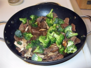 Broccoli and shiitake mushrooms added