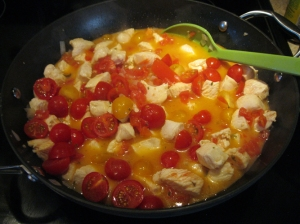 Chicken with cherry tomatoes added in